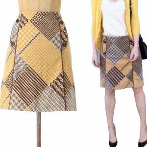 Anthropologie Maeve Velvet Houndstooth Skirt - 4